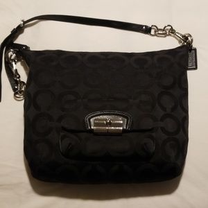 COACH 14761 Kristin Op Art Large Hobo Black Sateen